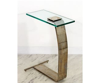 Mid Century Modern DIA Metal & Glass Cantilever Side End Table 1970s