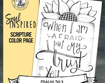 soul inspired scripture color pageprint psalm 563 digital - Psalm 56 3 Coloring Page