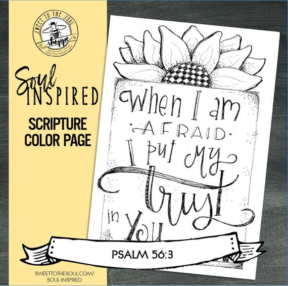 soul inspired scripture color pageprint psalm 563 digital download - Psalm 56 3 Coloring Page