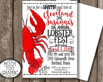 Lobster Fest Invitation - Lobster Back Invitation - Rehearsal Dinner LOW Country Crawfish Boil Invitation - Couples Shower Engagement Party