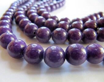 8mm Mashan JADE Beads in Purple, Round, Smooth, 51 Pcs, Full Strand, Dyed, Candy Jade, Mountain Jade, Gemstone Beads