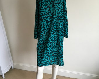 Vintage 80s St Michaels Green Leaf Print Tunic Dress
