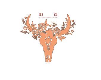 DECAL for Ozark/Yeti/RTIC Tumbler // Flower Bull Decal