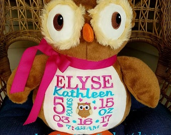 Personalized stuffed animal,Birth Announcement Stuffed Animal,Personalized Baby Gift,Baptism gift,Adoption gift,Okie Owl Stuffed Animal