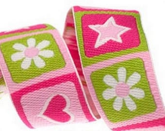 Ribbon stripe heart Star Pink Green 22 mm by 50 cm