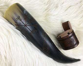 Viking Drinking Horn Vegvisir Design - Asatru Drinking Horn - Viking Horn Cup - Mead Horn - Viking Cosplay - Ren Faire - Viking Reenactment