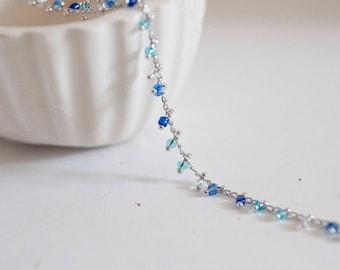 Rhodium beaded chain - blue