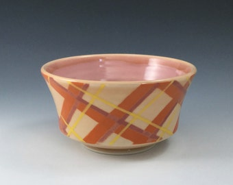 MADE-T0-ORDER Bowl, Orange Ceramic Bowl, Porcelain Bowl, Ceramic Soup Bowl, Plaid Bowl, Wheel Thrown Pottery Bowl, Ceramic Cereal Bowl