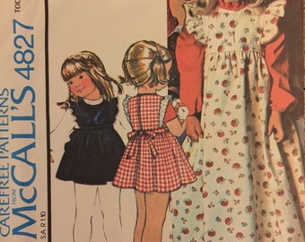 "VTG 4827 McCalls (1975). Carefree Patterns. Toddler's pinafore-jumper & blouse.  Size 1, Breast 20"". Complete, unused, FF. Excellent cond."
