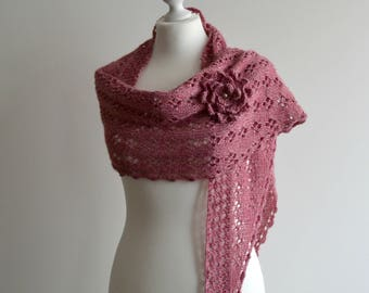 Hand knitted lace shawl with flower brooch cherry blossom pink wrap merino viscose handmade