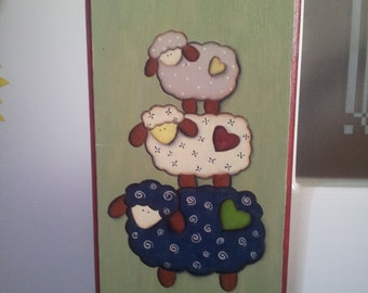WELCOME wooden plaque with three sheep country