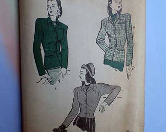 Vintage 40s Tailored Fitted Jacket Butterick Pattern 30