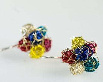 Flower earring, ear pin, flower drop earring, multicolor, colorful, wire earring, everyday, cute pin, hippie, autumn, Birthday gift women