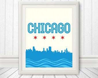 Chicago, Chicago Skyline, Chicago Print, Chicago Poster, Chicago Flag Print