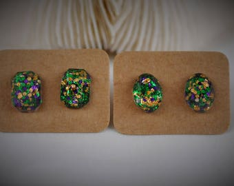 RESIN Gem Earring, RECTANGLE / OVAL Earring, Yellow / Green / Purple Mermaid Sequin Stainless Steel Stud Earring ~ 11 mm
