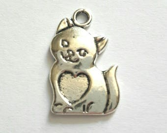 1 charm antique silver metal cat