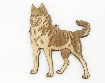 Alaskan Husky Dog Ornament from Timber Green Woods. Personalize it! Made in the U.S.A! - Nice Gift Idea - MAPLE Wood