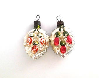 Set of 2 vintage soviet glass Christmas tree decoration, Acorns, Christmas ornaments, made in USSR, 1950s
