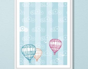 Hot Air Balloon Wall Art - Nursery Wall Art- Original Illustration - Hot Air Balloon Art Print - Blue Kid's Room Decor - Cheerful Wall Art