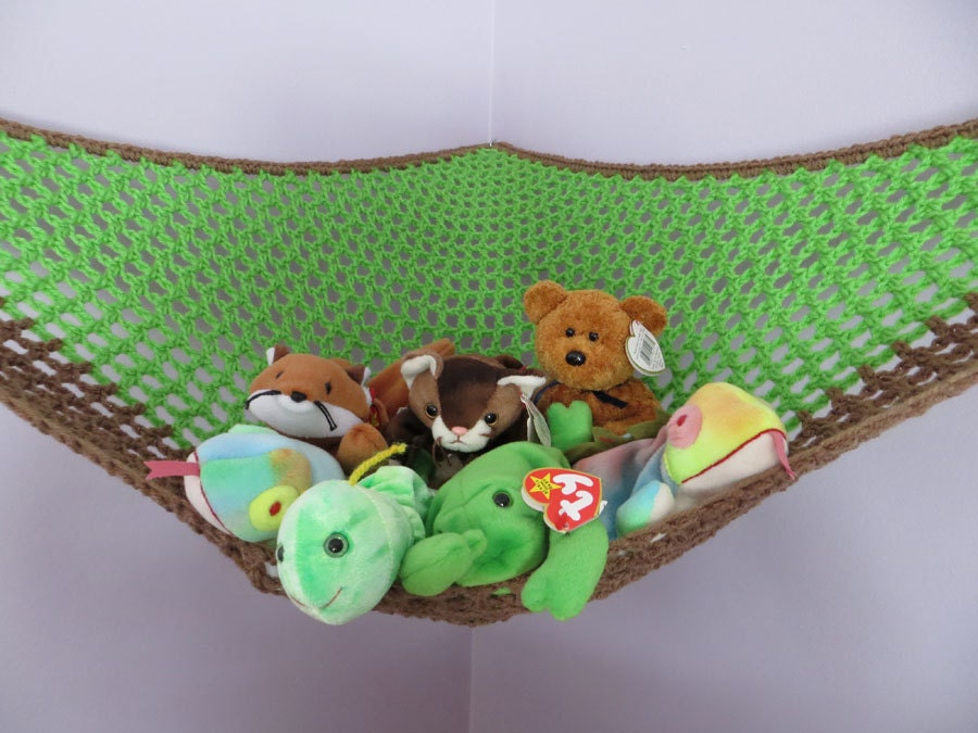 zoom crochet toy   hammock in spring green with brown trim  rh   etsy