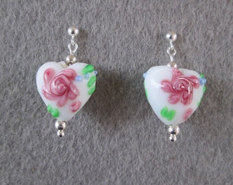 Heart Drop Earrings on Sterling Silver Posts -- White Glass Beads with Pink Flowers