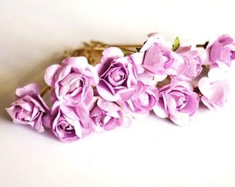Bridal Hair Accessories, Lavender Rose, Lilac flower Hair Bobby Pins- set 12