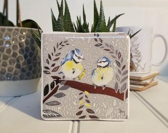 Coaster, Blue-Tit Coaster, Animal Coaster, Ceramic, Tile coaster, Bird, Gift, Decor, Interior Kitchen, Animals, British Wildlife, Country
