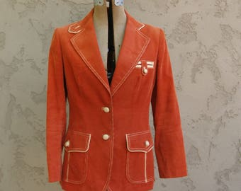 Vintage Corduroy Blazer with Awesome Faux Leather Details and Elbow Patches