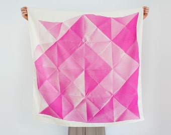Folded Paper furoshiki (pink) Japanese eco wrapping textile/scarf, handmade in Japan