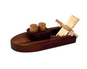 Rubber Band Powered Wooden Toy Tug Boat - Kids Wood Bath Toy For Girls and Boys