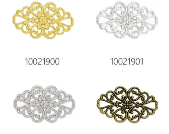 50PCS 32*20MM Brass Hollow Filigree Flower Wraps Connectors, Filigree Flower Connectors Links 100219