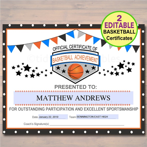 EDITABLE Basketball Certificates INSTANT DOWNLOAD Basketball