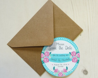 Set of 12+ Personalised Save the Date Magnets with Envelopes - Rose