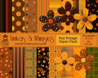 Fall Foliage Digital Scrapbook Papers Instant Download