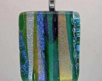 Green Sizzle Dichroic Pendant, Handmade Fused Glass Jewelry from North Carolina