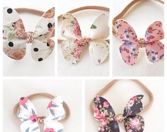 Floral Butterfly Headband, Butterfly Headband, faux leather headband, newborn headband, baby shower gift, baby girl, baby headband, nylon