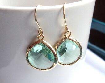 Gift Prasiolite earrings Green earrings Teardrop earrings Green dangle earrings Green drop earrings Bridesmaid earrings Bridal earring Gift