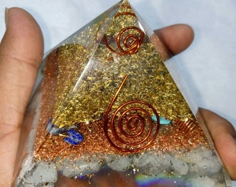 hemimorphite Orgone Energy Healing Pyramid  70 MM With Crystal ,Copper, Metal And Pyrite