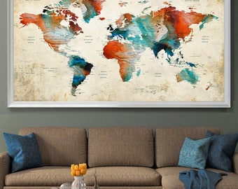 Push Pin Map, Large World Map Wall Art, Push pin travel map, PushPin, World Map Print countries and cities Office and Home decor (L123)