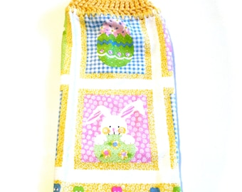 Easter Hand Towel With Cornmeal Crocheted Top