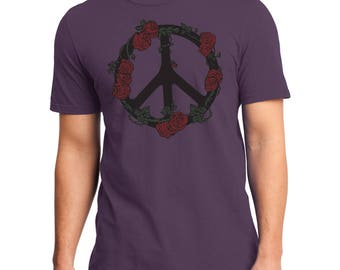 Peace Sign T-shirt, Peace sign with Roses, Eggplant, Purple Hippy Tee, Hippie t-shirt, Gift for him