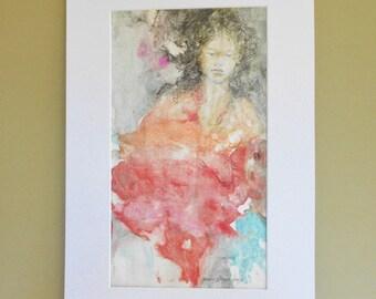 Original watercolor monoprint mixed media girl sketch matted 12 x 18 chalk pastel drawing painting ooak