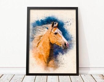Horse printable • Horse watercolor • Horse decor • Horse wall decor • Horse drawing • Nursery art • Horse poster • Watercolor wall art