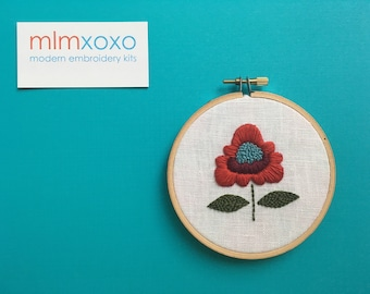 """Embroidery KIT by mlmxoxo.  Boho Chic Flower.  modern embroidery kit.  diy needlework.  botanical. floral. 4"""" hoop art hand embroidery kit."""