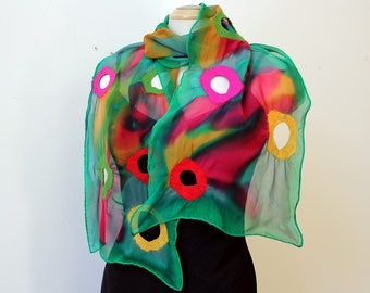 Handpainted and felted silk shawl