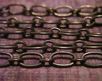 Antique Bronze Chain - Nellie Bly - 10 Foot - Steampunk - Rustic - Antique Bronze Mother and Son Chain