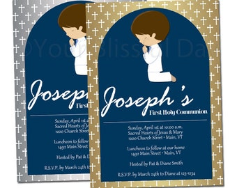 Silver or Gold Boy First Communion Party Invitation | First Communion Boy Invitations | PRINTABLE First Communion Boy Invitation #604