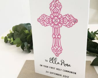 1st Communion Card, First Communion Gift, Congratulations Card, First Communion Girl, Personalised Gift, Confirmation, First Holy Communion