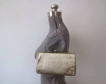 Vintage '50s/'60s Shiny Gold Lame Convertible Purse/Clutch w/ Great Case-Like Shape!