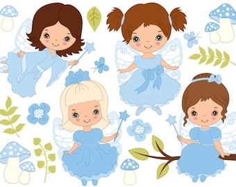 Fairy Clipart - Digital Vector Fairy, Girl, Fairytale, Amanita, Flower, Fairy Clip Art